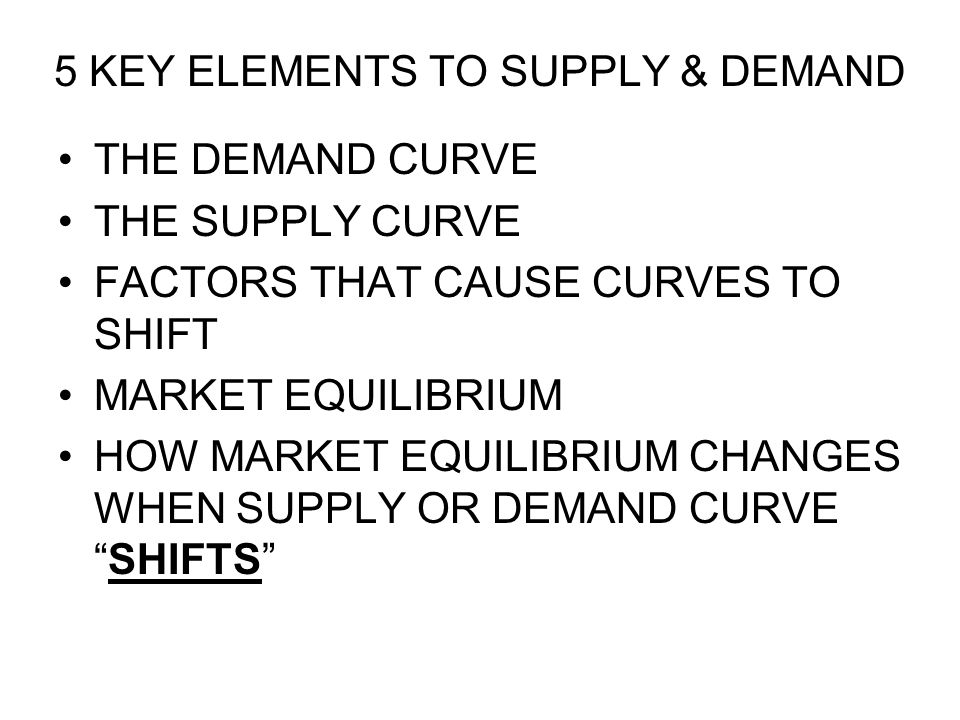 5 KEY ELEMENTS TO SUPPLY & DEMAND