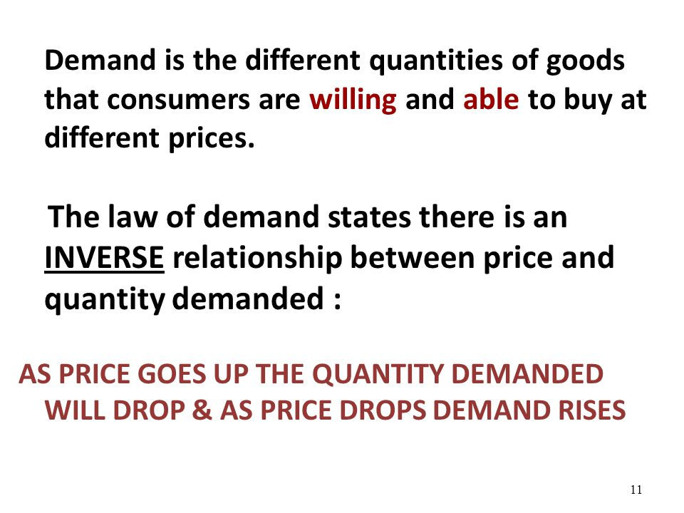 Demand is the different quantities of goods that consumers are willing and able to buy at different prices.