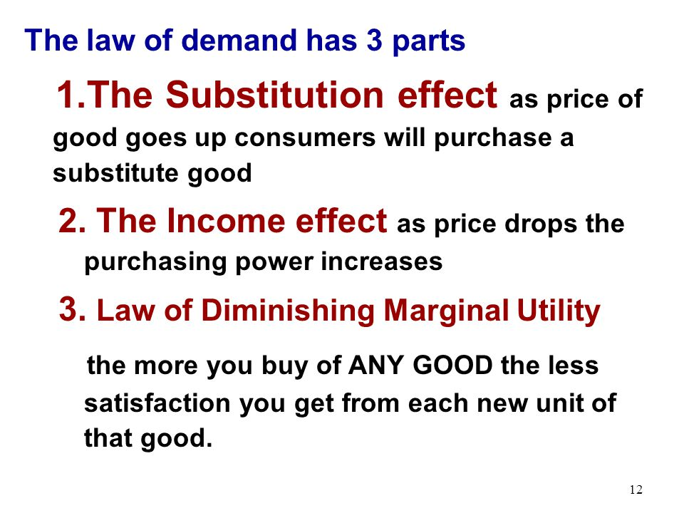 The law of demand has 3 parts