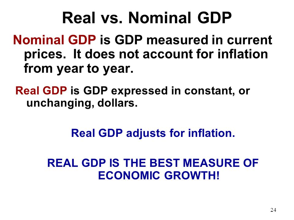 Real vs. Nominal GDP Nominal GDP is GDP measured in current prices. It does not account for inflation from year to year.