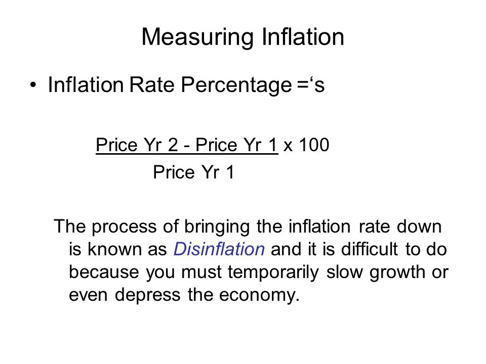 Measuring Inflation Inflation Rate Percentage ='s