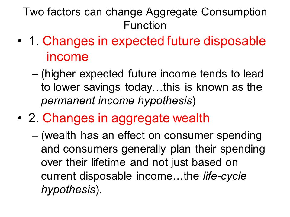 Two factors can change Aggregate Consumption Function