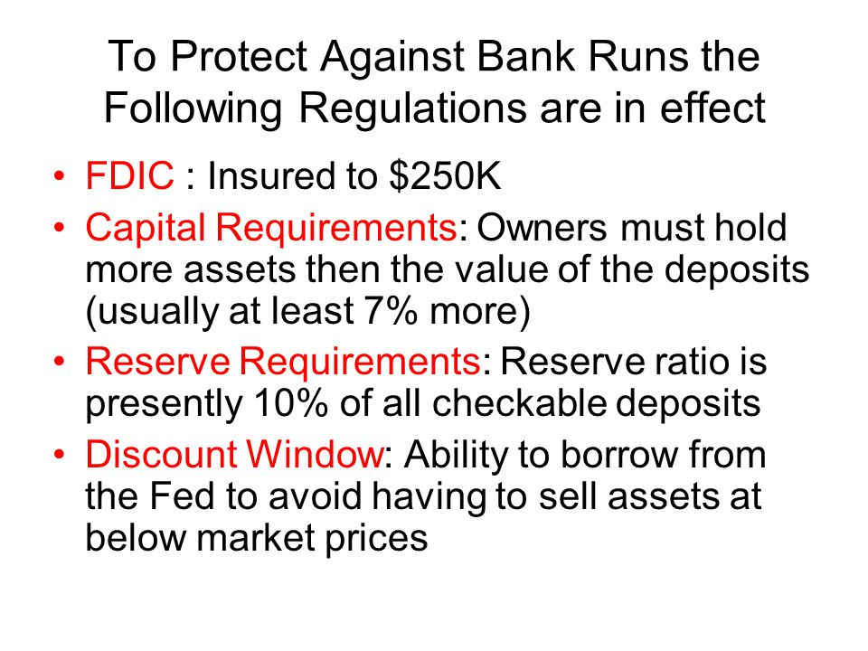 To Protect Against Bank Runs the Following Regulations are in effect