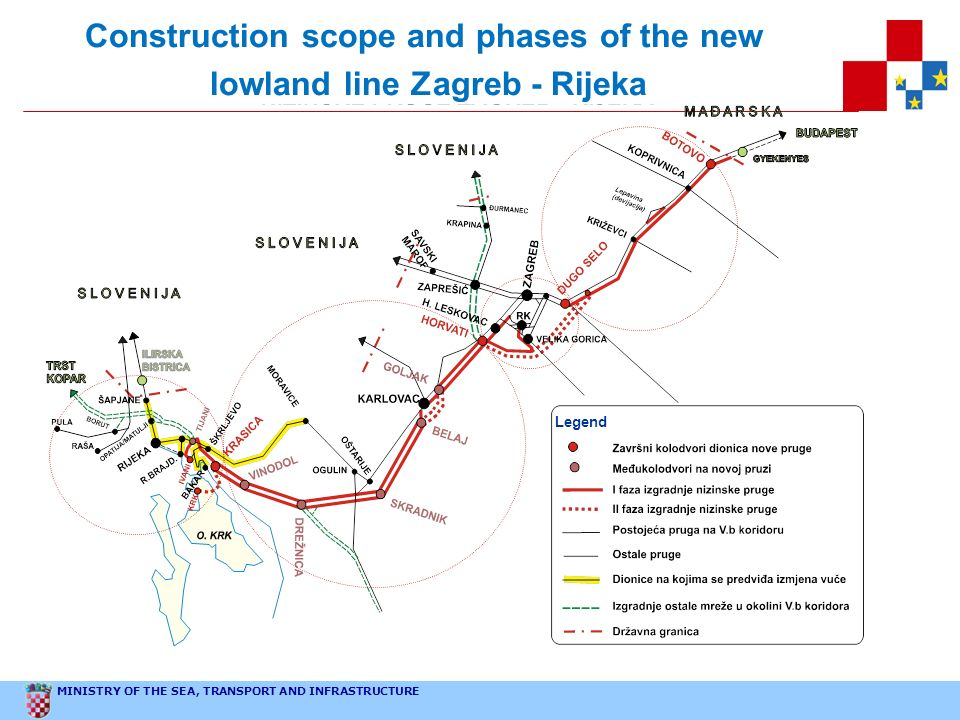 Construction scope and phases of the new lowland line Zagreb - Rijeka
