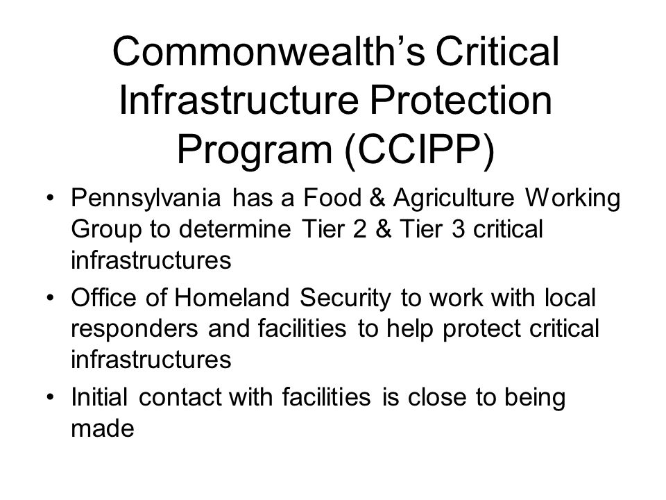 Commonwealth's Critical Infrastructure Protection Program (CCIPP)