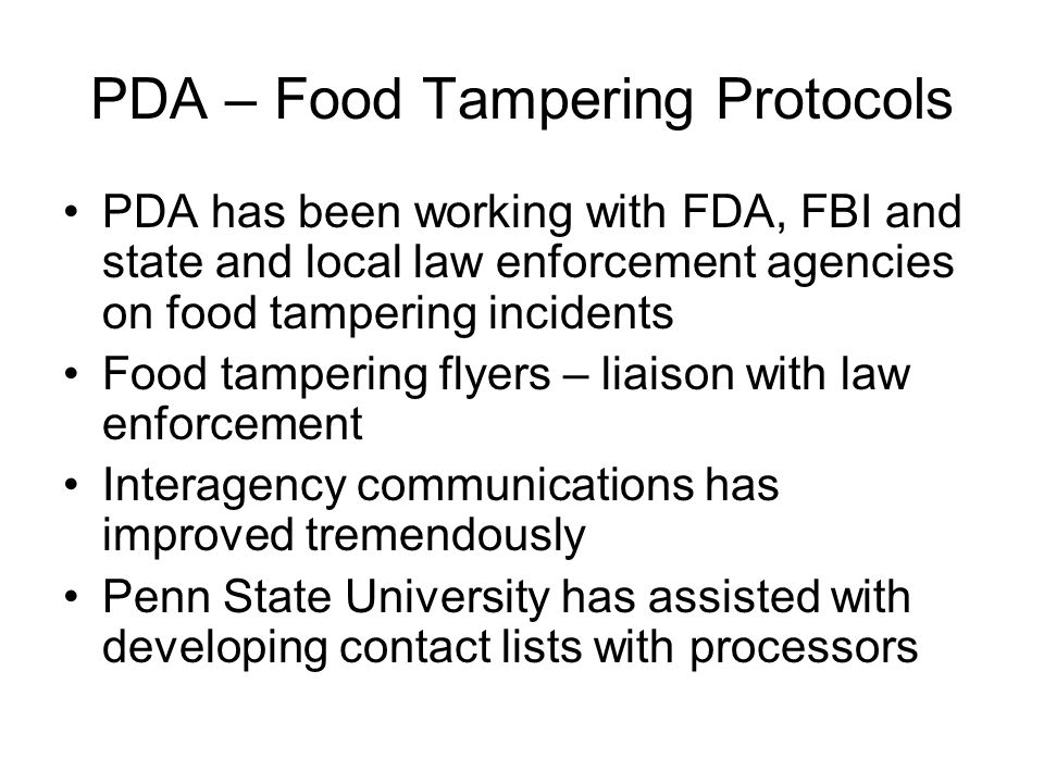 PDA – Food Tampering Protocols