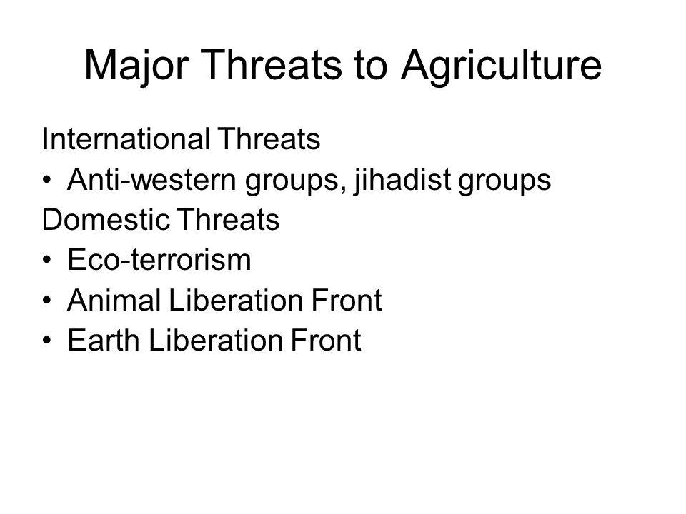 Major Threats to Agriculture
