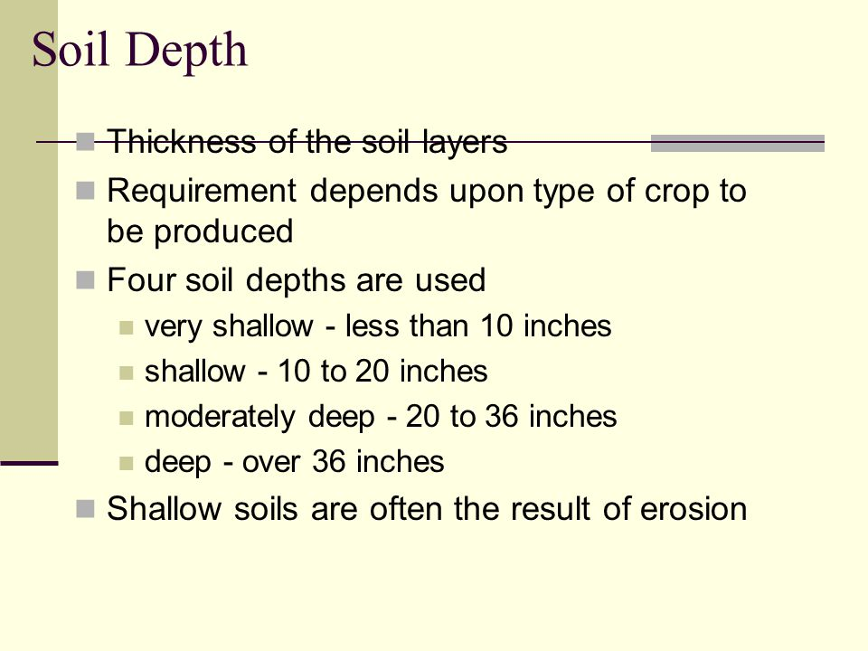 Soil Depth Thickness of the soil layers