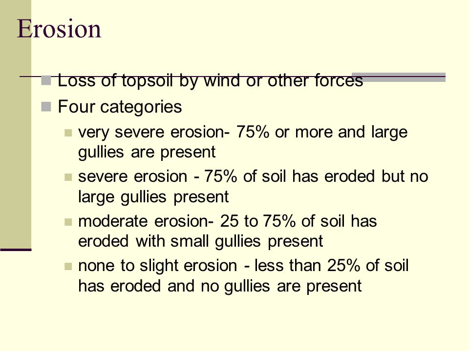 Erosion Loss of topsoil by wind or other forces Four categories