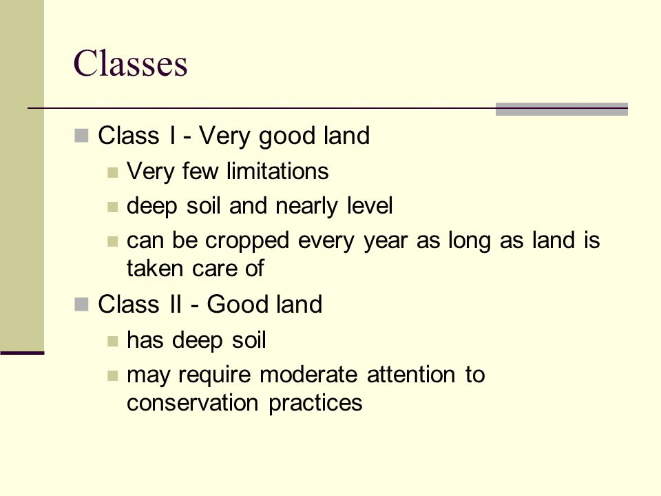 Classes Class I - Very good land Class II - Good land
