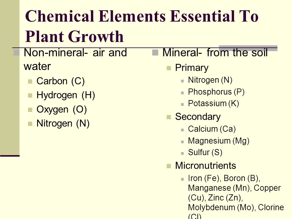 Chemical Elements Essential To Plant Growth