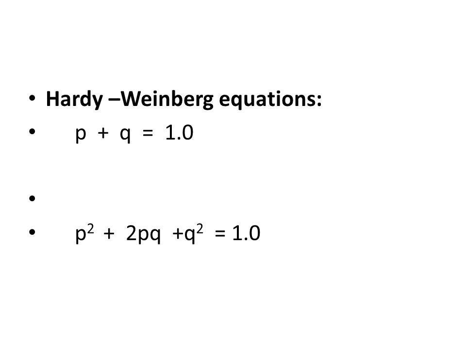 Hardy –Weinberg equations: