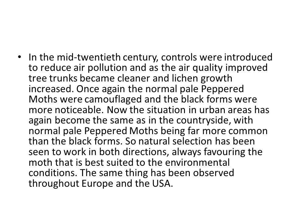 In the mid-twentieth century, controls were introduced to reduce air pollution and as the air quality improved tree trunks became cleaner and lichen growth increased.
