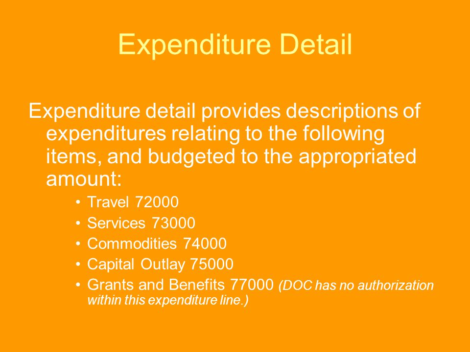 Expenditure Detail Expenditure detail provides descriptions of expenditures relating to the following items, and budgeted to the appropriated amount: