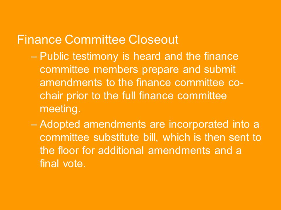 Finance Committee Closeout