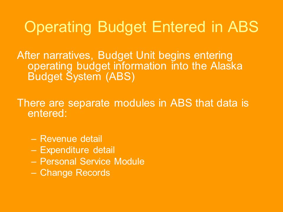Operating Budget Entered in ABS