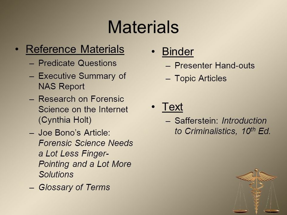 Materials Reference Materials Binder Text Predicate Questions
