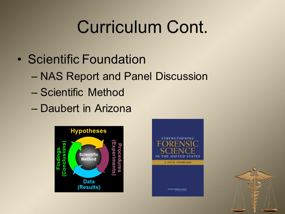 Curriculum Cont. Scientific Foundation NAS Report and Panel Discussion