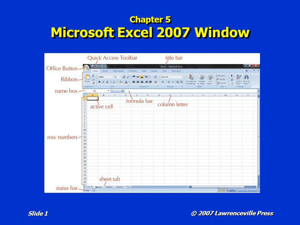 Chapter 5 Microsoft Excel 2007 Window