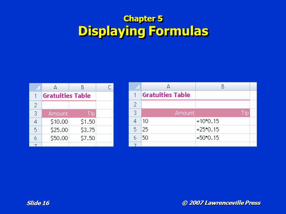 Chapter 5 Displaying Formulas