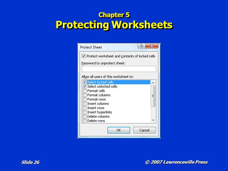 Chapter 5 Protecting Worksheets