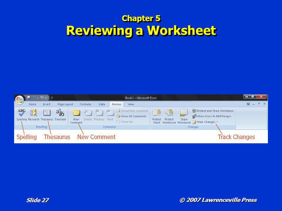 Chapter 5 Reviewing a Worksheet