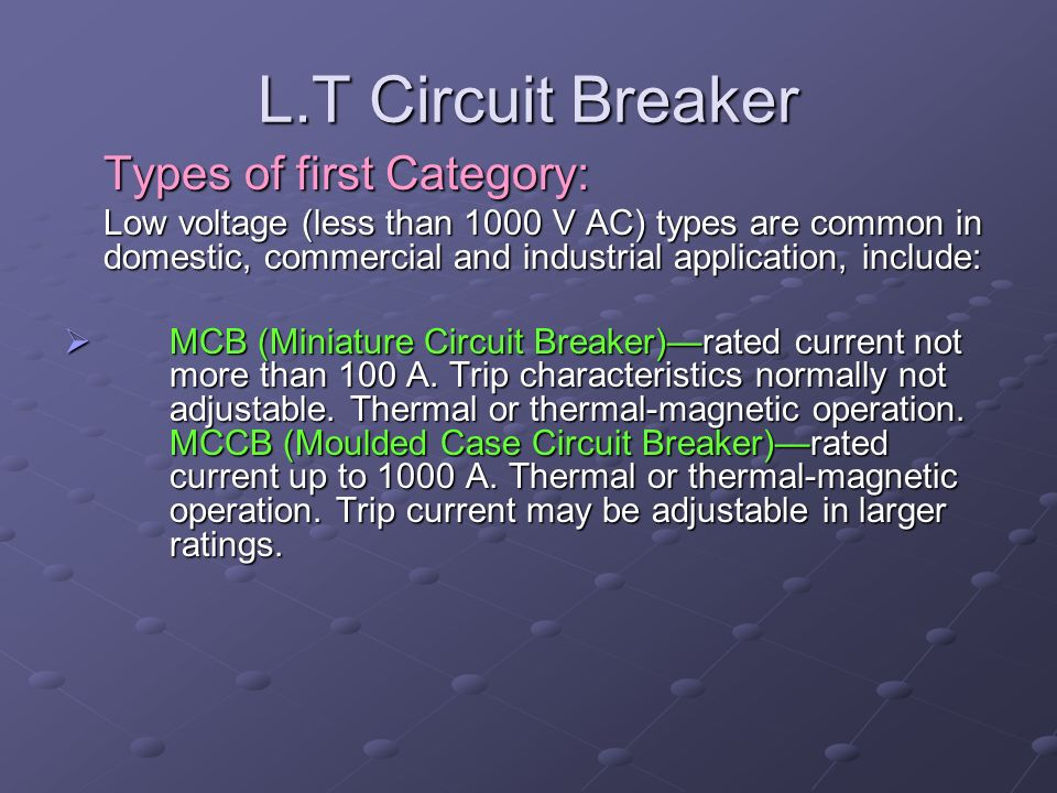 L.T Circuit Breaker Types of first Category: