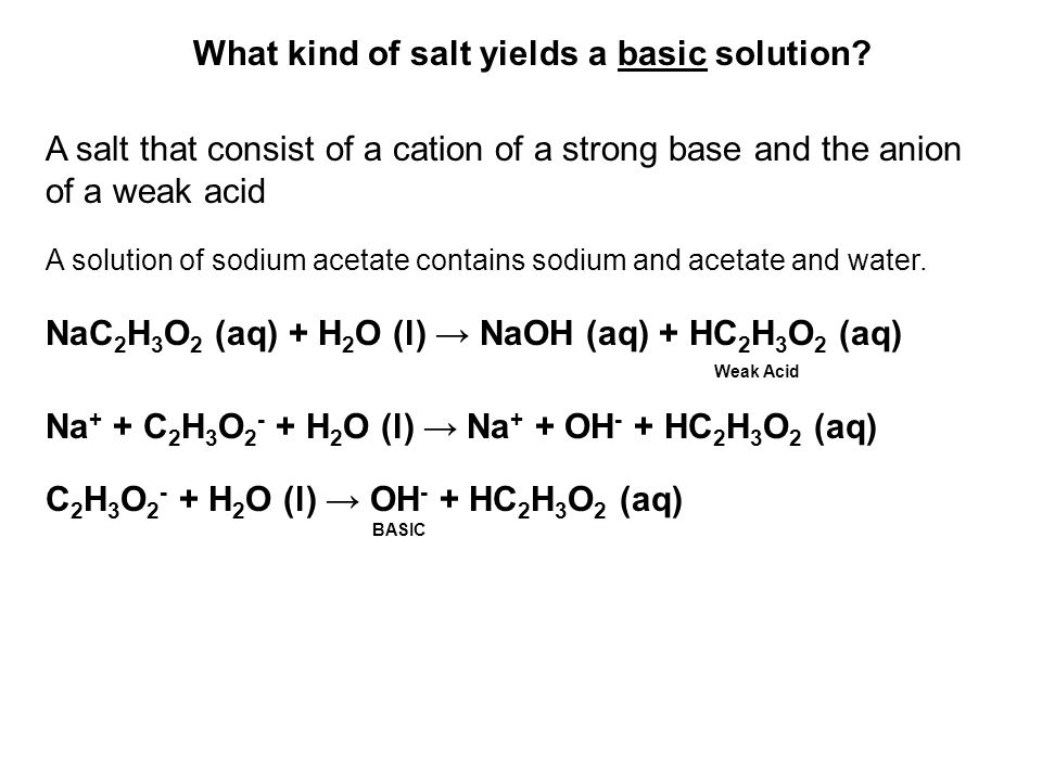 What kind of salt yields a basic solution