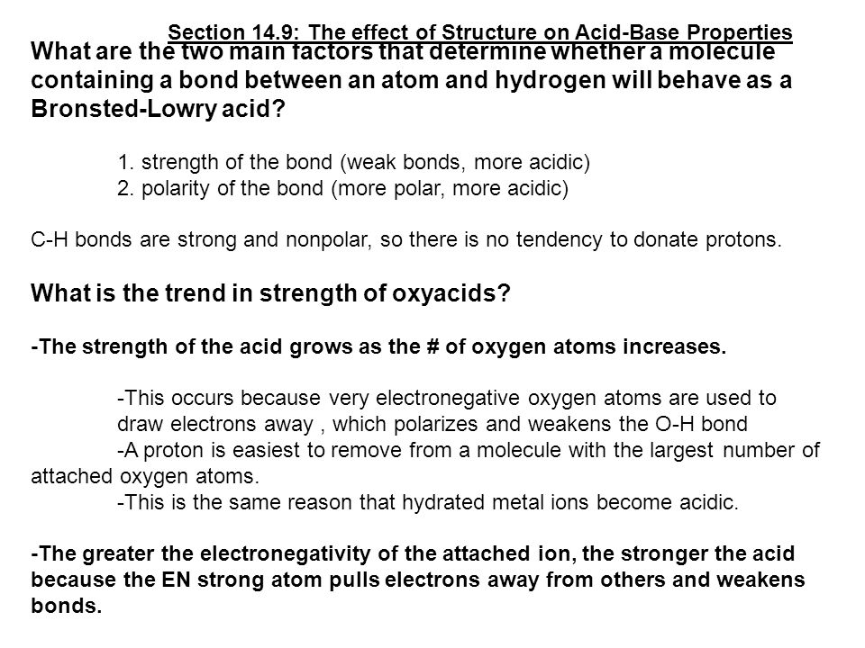 What is the trend in strength of oxyacids