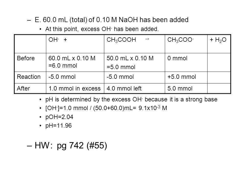 HW: pg 742 (#55) E. 60.0 mL (total) of 0.10 M NaOH has been added