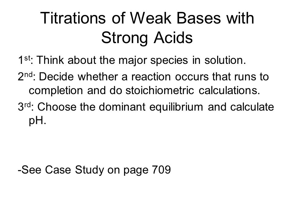 Titrations of Weak Bases with Strong Acids