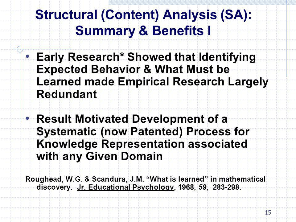Structural (Content) Analysis (SA): Summary & Benefits I