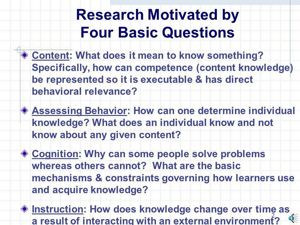 Research Motivated by Four Basic Questions
