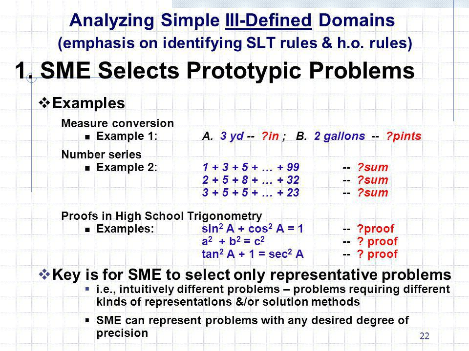 1. SME Selects Prototypic Problems