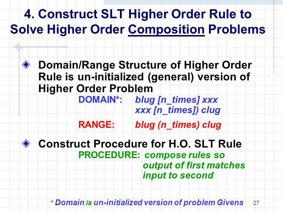 4. Construct SLT Higher Order Rule to Solve Higher Order Composition Problems