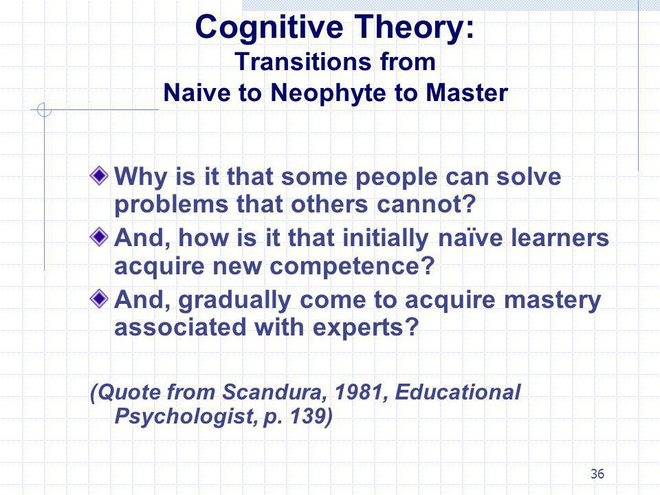 Cognitive Theory: Transitions from Naive to Neophyte to Master
