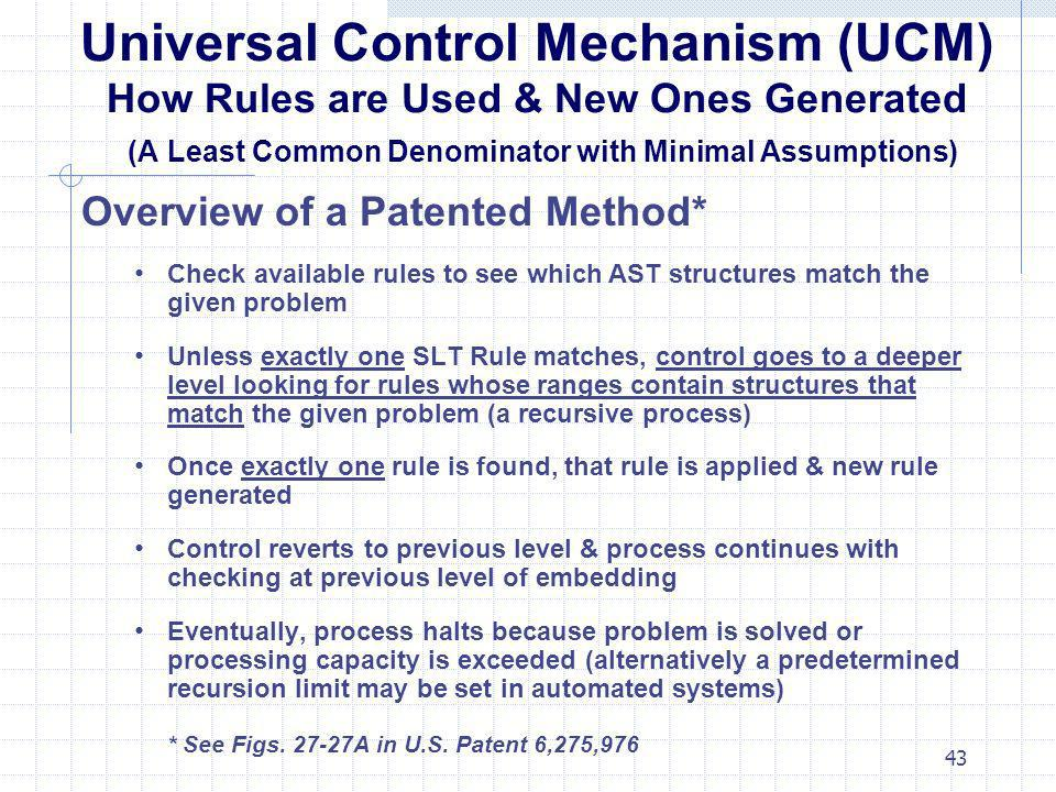 Universal Control Mechanism (UCM) How Rules are Used & New Ones Generated (A Least Common Denominator with Minimal Assumptions)
