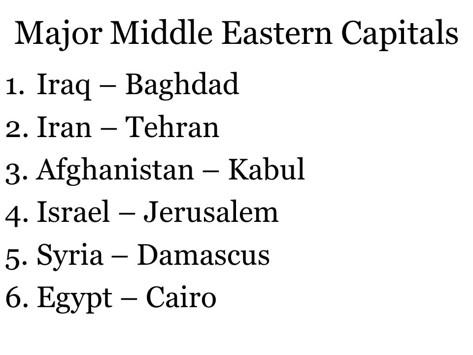 Major Middle Eastern Capitals