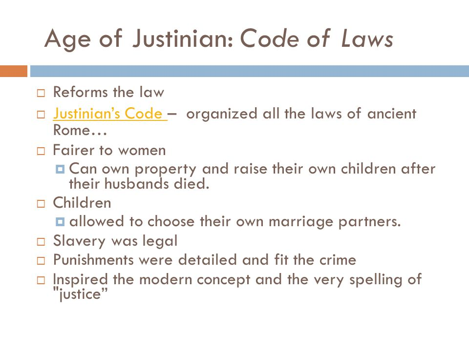 Age of Justinian: Code of Laws