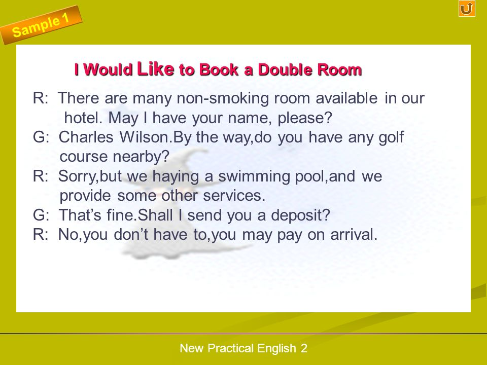 I Would Like to Book a Double Room