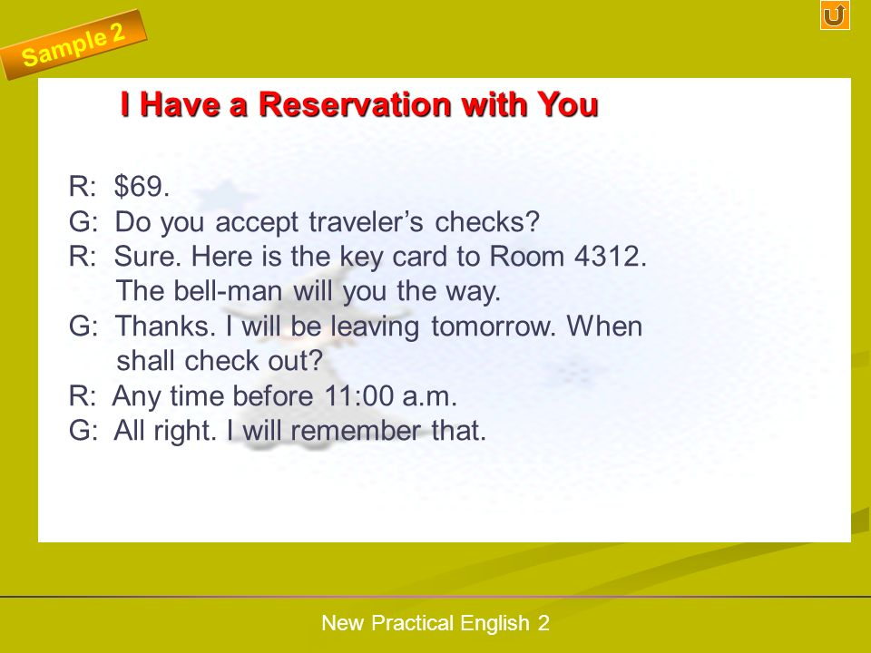 I Have a Reservation with You