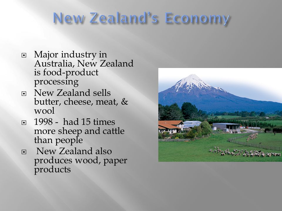New Zealand's Economy Major industry in Australia, New Zealand is food-product processing. New Zealand sells butter, cheese, meat, & wool.