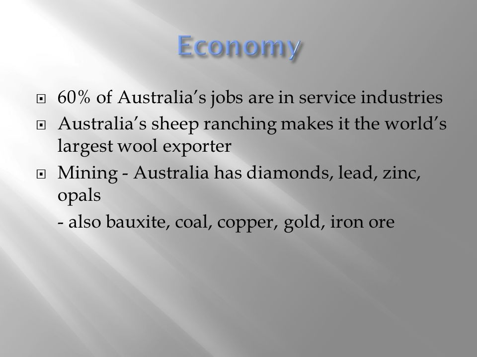 Economy 60% of Australia's jobs are in service industries