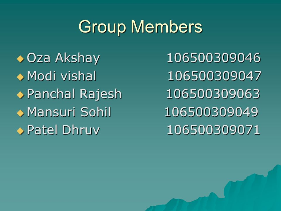 Group Members Oza Akshay Modi vishal