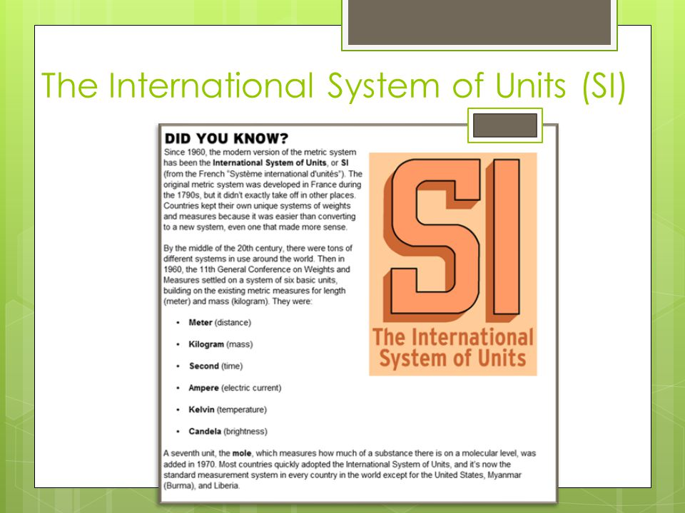 The International System of Units (SI)