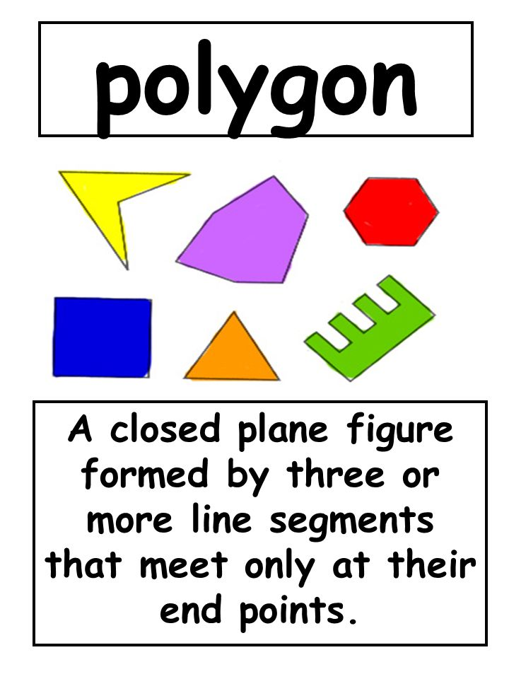 polygon A closed plane figure formed by three or more line segments that meet only at their end points.