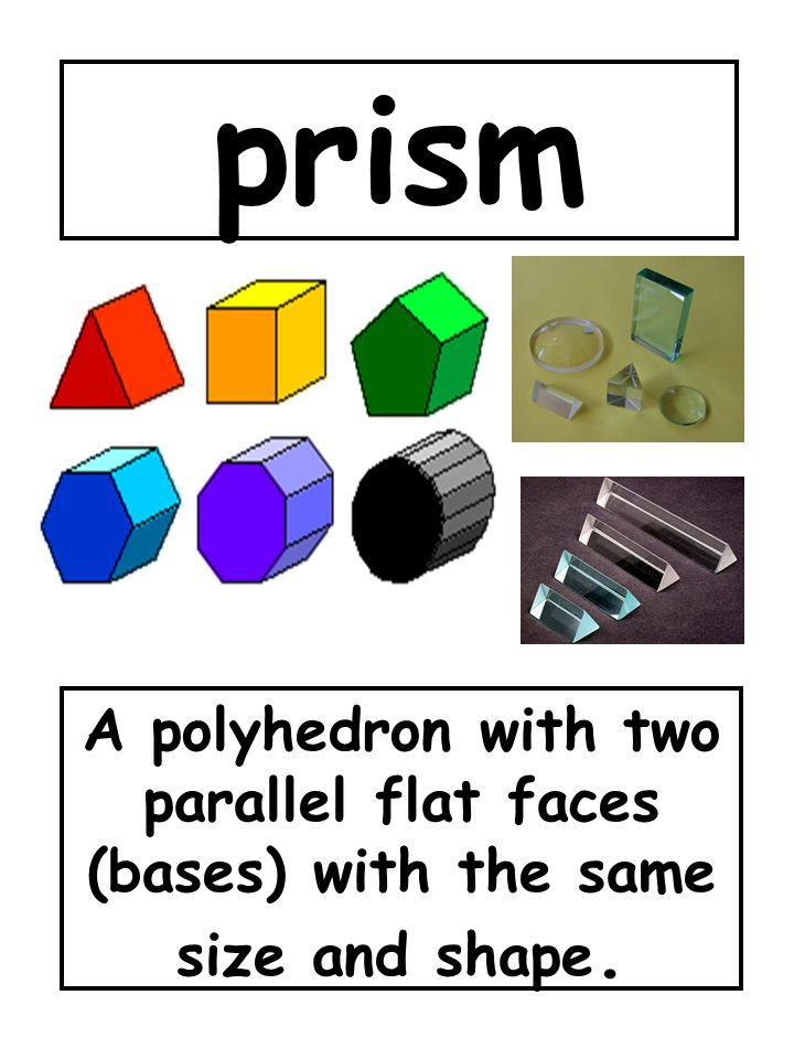 prism A polyhedron with two parallel flat faces (bases) with the same size and shape.