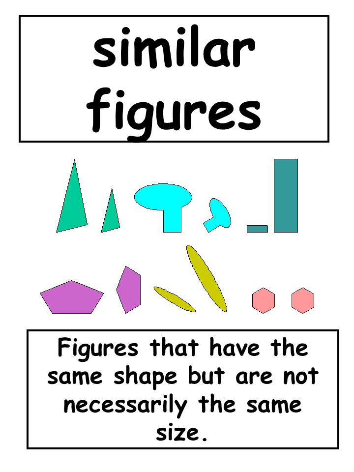 similar figures Figures that have the same shape but are not necessarily the same size.