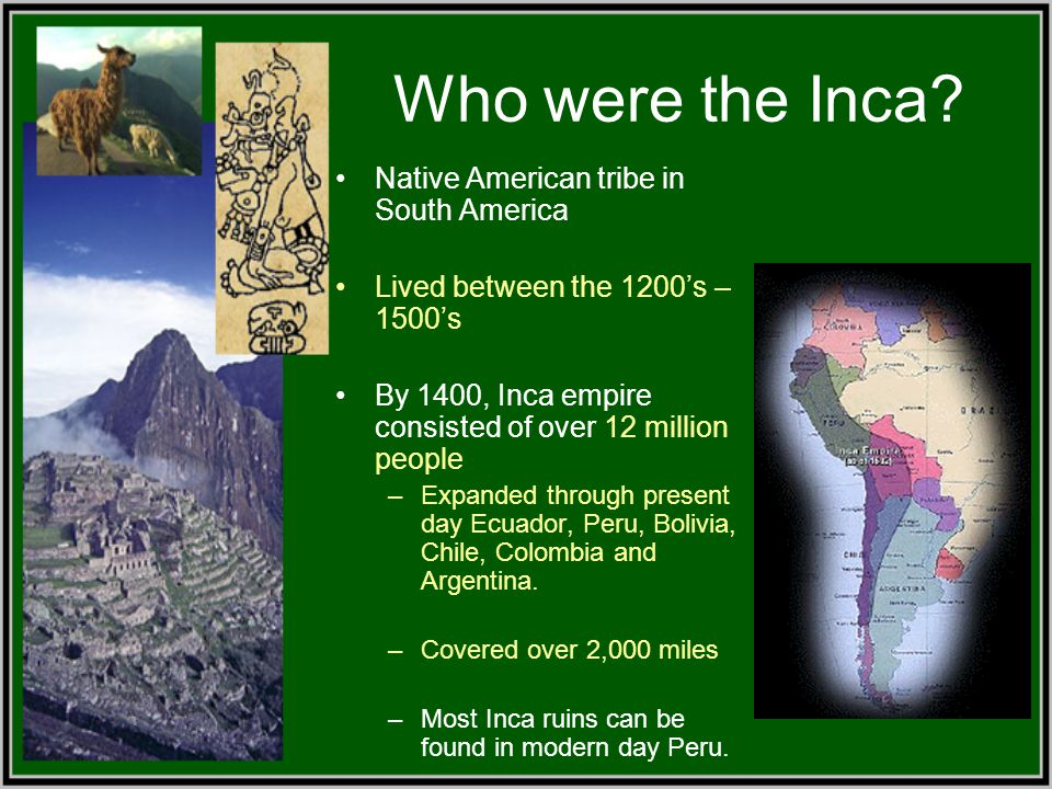Who were the Inca Native American tribe in South America