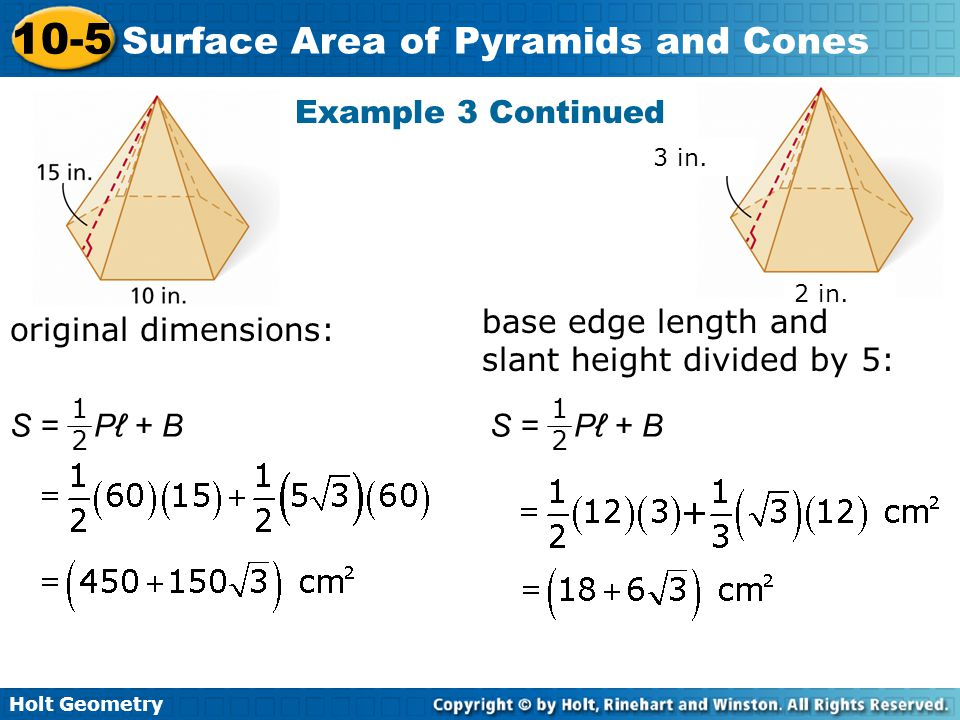 10-5 problem solving surface area of pyramids and cones